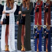 Women's Open Front Summer Beach Long Maxi Jacket Coat Lace Crochet Cardigan Plus