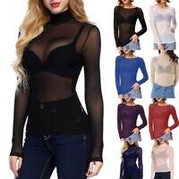 Women Long Sleeve High/O Neck Arm Shaper Top Sheer Mesh Yoke Casual Blouse Shirt