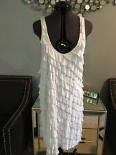 NWT $140 BCBG Maxazria Women Medium White Ruffle Tiered Tank Sleeveless Dress