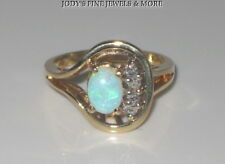 SPECTACULAR ESTATE 14K YELLOW GOLD OVAL OPAL & DIAMOND LADIES RING Size 6.25