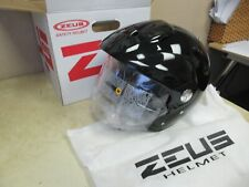 ZEUS 3/4 OPEN FACE MOTORCYCLE + ATV + SCOOTER HELMET / FACESHIELD BLACK MEDIUM