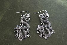 Hand Crafted Earrings Large Silver Asain Dragons