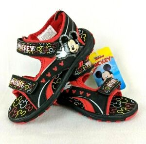 NWT - Mickey Mouse Clubhouse Disney Toddler Boys Sandals - Black Red - Size US 8