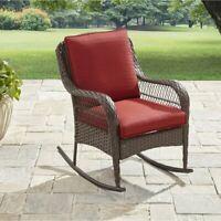 Outdoor Patio Garden Rocking Chair Coated Steel Frame Cushion Fabric Wicker