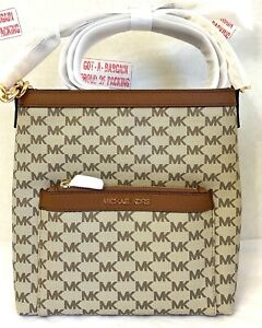 Michael Kors Morgan Signature PVC Leather Messenger Medium Zip Crossbody Bag