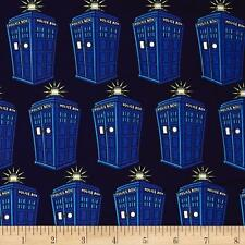 DR WHO Fabric Fat Quarter Cotton TARDIS POLICE BOX 2 Craft Quilting LICENSED New