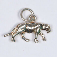 Panther Leopard Mountain Lion Puma Sterling Silver Charm for Bracelet Necklace
