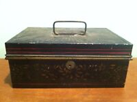 Antique Vintage Tole Painted Metal Cash Trinket Lock Box Safe