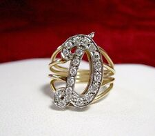 "14K TWO TONE SOLID GOLD 0.40 CTW DIAMOND 3D LETTER ""D"" INITIAL RING SIZE 6.75"