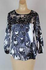 T Tahari Petite Women's Silver Blouse Top Size S/P Long Sleeve (R)