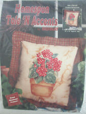 VTG.HOMESPUN TOLE N ACCENTS KIT POTTED GERANIUM PILLOW Tole Fabric Painting
