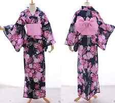 k-022 blu rosa Brillantini Farfalla Fiori Kimono Giapponese Yukata Obi Cintura