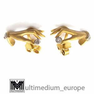 585 Gelb Gold Diamant Ohrringe Ohrstecker Hand 14Kt earrings 🌺🌺🌺🌺🌺
