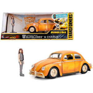 Volkswagen Beetle Weathered Yellow with Robot on Chassis and Charlie Diecast ...