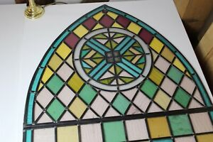 Fully restored VICTORIAN cc1862 Church Stained Glass Window 0.774m by 2.118m