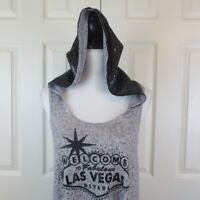 The Strip Las Vegas Tank Top LARGE Las Vegas Graphic Black Sequins Gray Hooded