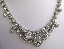 Ancien collier couleur argent bijou vintage rivière de cristaux diamant 3101