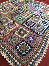 New Handmade Large Vintage Style Crocheted Granny Blanket 52 Inches Squared