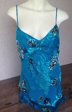 John Paul Richard Uniform Silk Tank Top Crepe Straps NWT New M Turquoise Blue