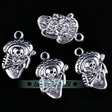 10pcs 22x15mm Mexican Skeleton Charms Silver Alloy Crafts Findings Pendants