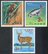 Ryukyu 1966 Woodpecker/Dugong/Manatee/Deer/Animals/Birds/Nature 3v set (s3612)