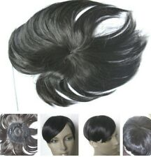 very dark brown clip in fringe bangs bald grey patch hairpiece extension toupee