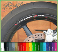 8 x SUZUKI GSXR 750 Wheel Rim Decals Stickers - Choice of Colour - gsxr750 gsx r