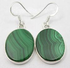 Oval Stones Nouveau Earrings 1.6 Inch .925 Sterling Silver Green Malachite Flat