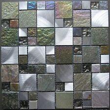 1No Iridescent Glass/Stone/Metal Mix Modular Mosaic (0142) 30 X 30Cm