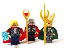 Custom Minifigure Marvel LOKI, THOR and ODIN with free LEGO brick.UK