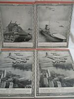 """Vintage 4 tablets w/cover of  """"Flying Fortress"""" plane, tank, aircraft carrier."""