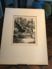 Antique listed artist SIGFRIED JOHNSON engraving ETCHING 28th W. 63 St NYC steps
