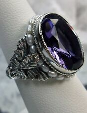 *Amethyst*& Seed Pearl Sterling Silver Art Nouveau Floral Filigree Ring Size: 5