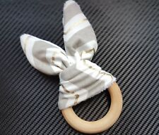 UK Supplier Handmade Organic Wooden Bunny Ear Chewie Teething Ring - Shower Gift