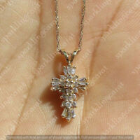 1.50 Ct Baguette Round Cut Diamond Cross Pendant No Chain 14k Yellow Gold Finish