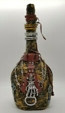Pirate Bottle Hand Decorated Decoupage Steampunk Skeleton Gears Chains Handmade