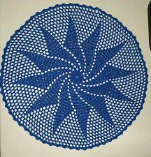 Centrotavola Uncinetto Fatto A Mano Azzurro Diametro 33cm Filato N.5 Cotone