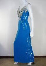 ALYCE DESIGNS VINTAGE SLEEVELESS SEQUIN DRESS SIZE 8 BLUE