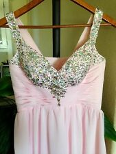 Women's Light Pink Long Beaded-Jeweled Prom Cocktail Evening Dress, PETITE/SHORT