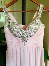 Women's Light Pink Long Beaded-Jeweled Prom Cocktail Evening Dress, PETITE/SHORT