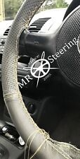 FOR VAUXHALL VECTRA C GREY TWO TONE LEATHER STEERING WHEEL COVER CREAM STITCHING
