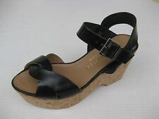 Eric Michael Womens Shoes NEW $130 Hayley Black Leather Cork Wedge Sandal 37 7