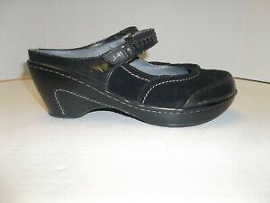 "Womens Size 9M Jambu ""Ocean"" Black Leather Mary Jane Wedge Mules/Clogs"