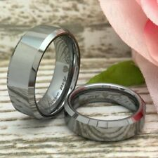 8mm/6MM His & Hers Tungsten Rings, Personalized Engrave Tungsten Wedding Rings