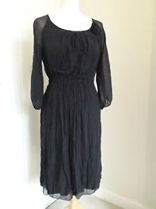 PHASE EIGHT Little Black Dress * 100% Silk * Lined * Shirred Waist * Sz L