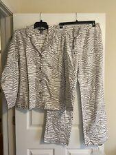 Ambrielle Ladies 2 Piece Flannel Cotton PJ Set Animal Print Size M Cream/Beige E