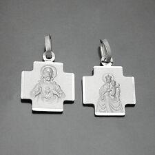 Kreuz Anhänger Madonna und Jesus Skapulier Carmen Herz Jesu mit Kette Silber 925