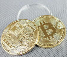 Gold Plated Bitcoin Coin Collectible Gift BTC Coin Art Collection Physical 1 pc