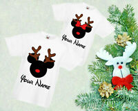 Personalised Deer Minnie Mickey T-Shirt, Christmas Day Gift Kids & Adults Top