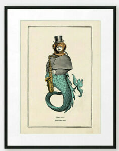 Funny Vintage Surreal Gothic Steampunk Merman Saxophone Wall Print Music Gift